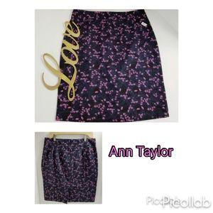 Ann Taylor Navy Floral Pencil Skirt